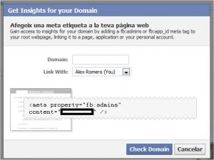 Facebook  Insights - Añadir nuevo dominio