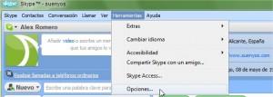 Botón Herramientas->Opciones... de Skype