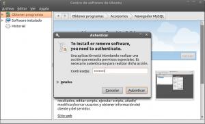 Centro de software de Ubuntu Autentificar