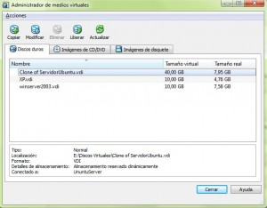 Administrador de medios virtuales VirtualBox